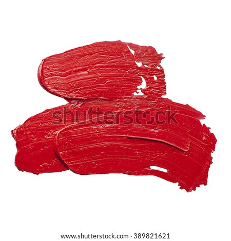 red oil paint spot isolated on white background