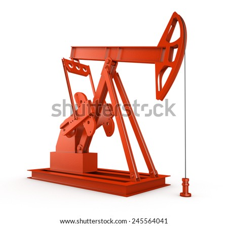 Red oil rig on isolated white  - stock photo