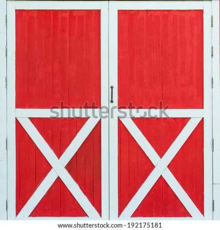 red old barn door - stock photo