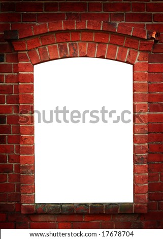 Red old brick framework with white. Dark angles. - stock photo