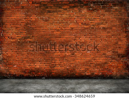 red old brick wall with foreground  - stock photo