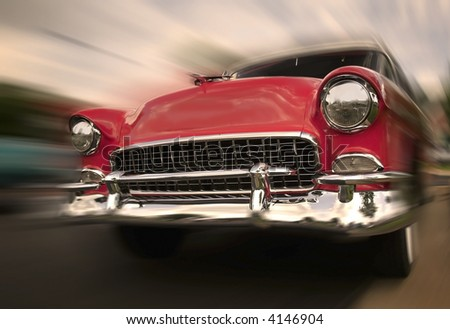 Red old chevy car - stock photo