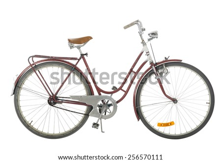 Red Old fashioned bicycle isolated on white background - stock photo