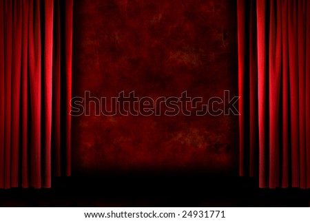 Red old fashioned grungy elegant theater stage curtain drapes - stock photo