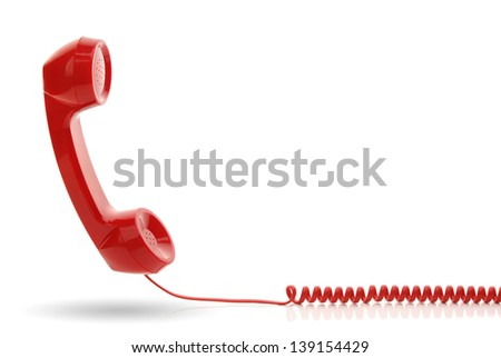 Red old fashioned telephone receiver isolated on a white - stock photo