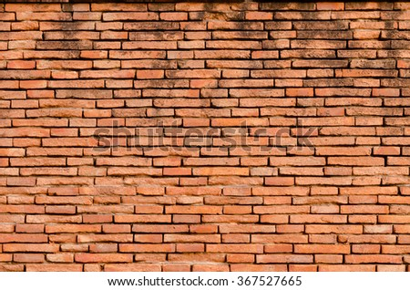 Red old grunge brick wall background.