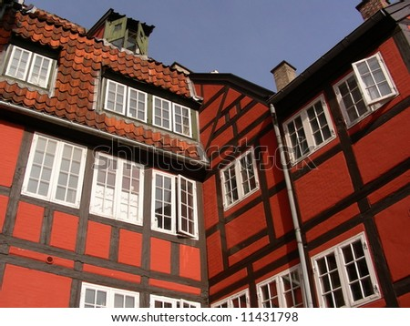 Red old half-timbered house in the old part of Copenhagen