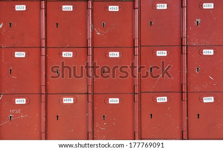 Red old mail boxes