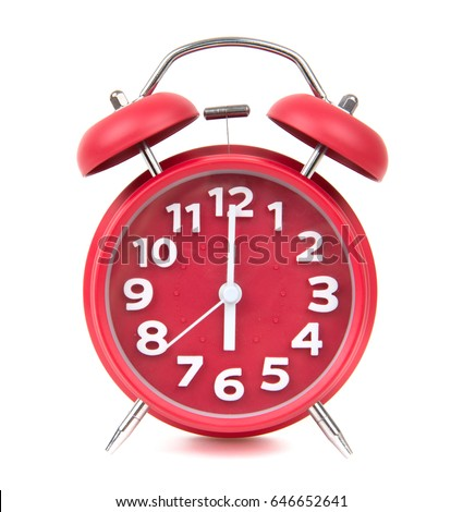 red old retro style alarm clock on white background alarm clock shows five minutes to 6