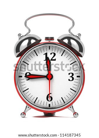 Red Old Style Alarm Clock. Isolated on White. - stock photo
