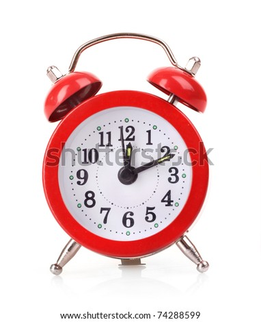 Red old style alarm clock isolated on white background - stock photo