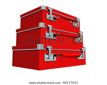 Red old stylish   suitcases isolated 3d image on white background