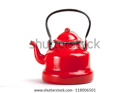 red old tea kettle - stock photo