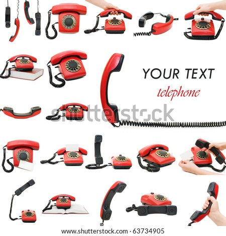 Red old telephone. Collage - stock photo