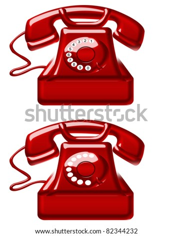 red old telephones isolated over white background. illustration