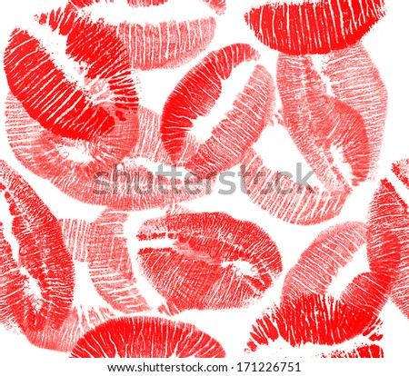 red on white lips imprints seamless background - stock photo