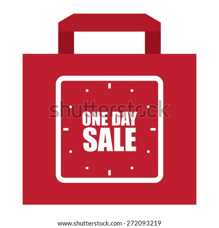 Red One Day Sale Shopping Bag, Label, Sign or Icon Isolated on White Background - stock photo
