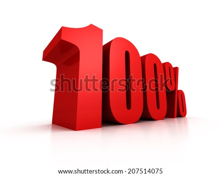 Red one hundred percent off symbol. Discount 100%. 3D render  illustration - stock photo