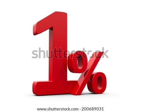 Red one percent sign isolated on white background, three-dimensional rendering