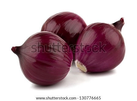 Red onion and fresh parsley isolated on white background - stock photo