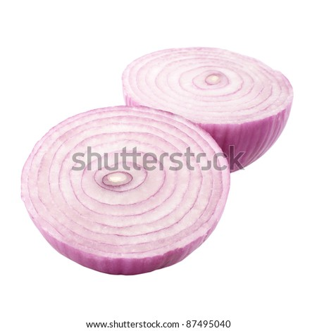 Red Onion Halved Cutout - stock photo