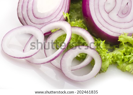 Red Onion rings close up on the  table  - stock photo