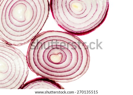 Red onion rings isolated over white background - stock photo
