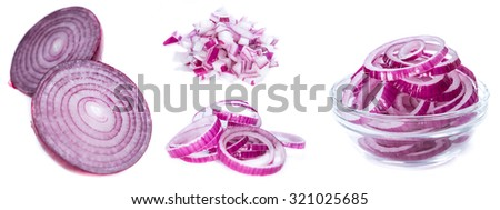 Red Onions (isolated on pure white background) - stock photo
