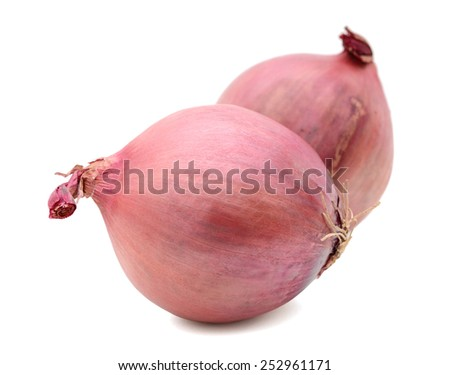 red onions on white background - stock photo