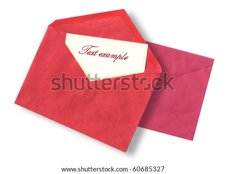 Red open envelope from craft papers with a yellow paper leaf for the text and a pink envelope on a background isolated on a white background - stock photo