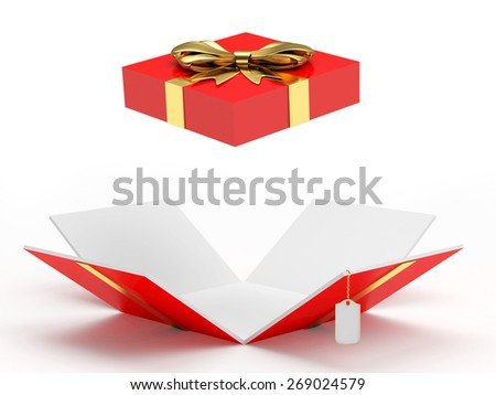 Red open gift box with blank label isolated on a white background  - stock photo