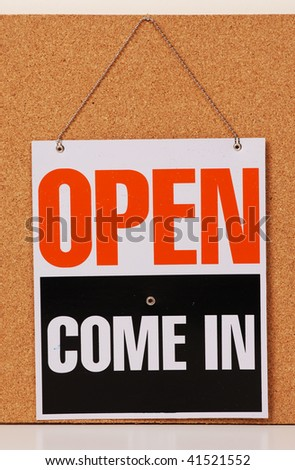red open sign hanging at door - stock photo