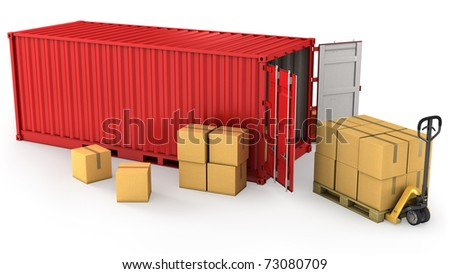 Red opened container and many of carton boxes on a pallet, isolated on white background - stock photo