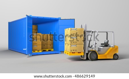 Red opened container and many of carton boxes on a pallet, isolated on white background for use in presentations, education manuals, design, etc.3D illustration