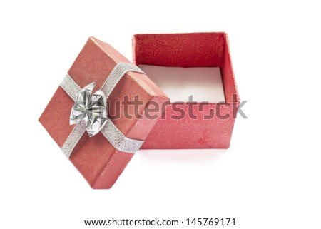 Red opened empty gift box isolated over white - stock photo