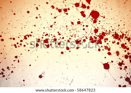 red or blood on white wall - stock photo