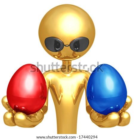 Red Or Blue Nest Egg - stock photo