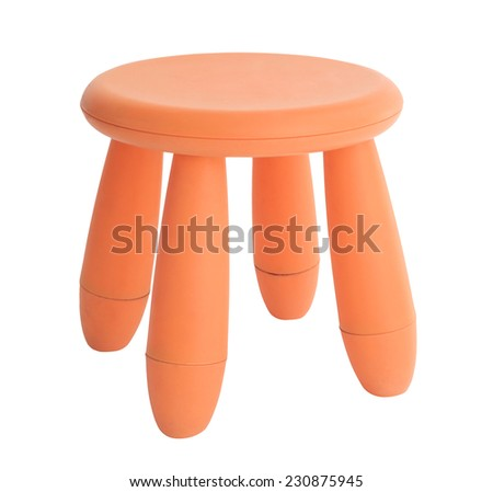 Red or orange baby plastic stool isolated on white background