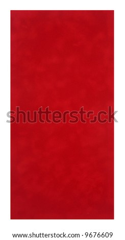 Red or rust colored velvet fabric isolated on white background