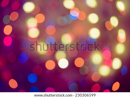Red, orange and blue holiday bokeh. Abstract Christmas background, christmas lights background - stock photo