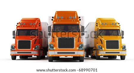 Red, orange and yellow trucks isolated on white background - stock photo