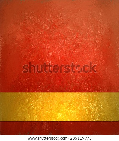 Red orange background. Luxury shiny texture and vintage gold ribbon for text or image. Blank gold label layout.. - stock photo