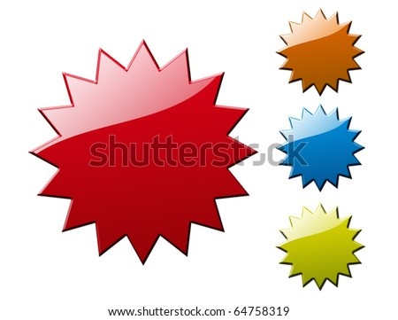 Red, orange, blue and green blank labels, isolated on white, illustration