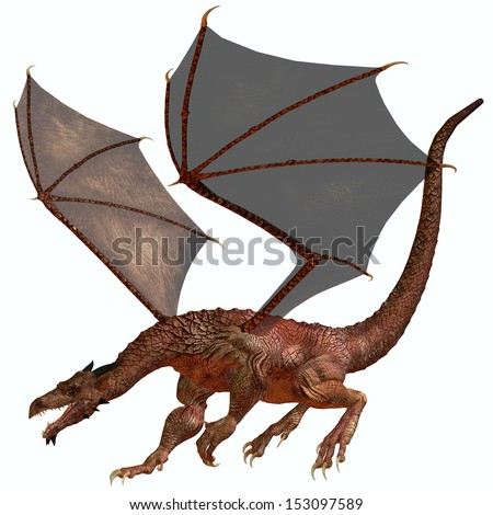 Red Orange Dragon - A creature of myth and fantasy the dragon is a fierce flying monster with horns and large teeth. - stock photo