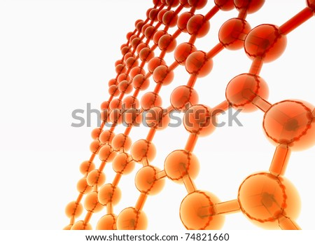 red-orange glossy molecular structure on white