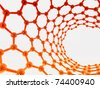 red-orange reflective nanotube structure on white background - stock photo