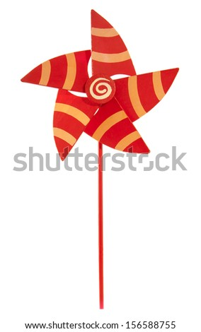 Red orange wooden pinwheel isolated over white - stock photo