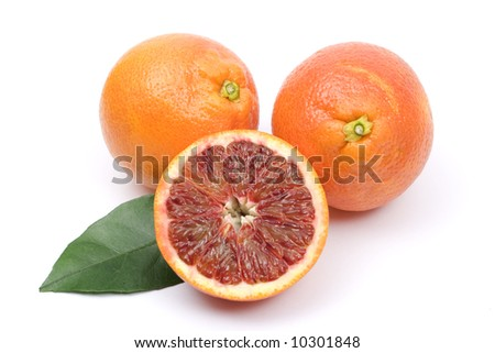 Red oranges on white background