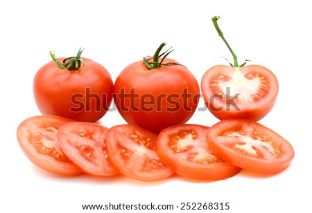 red organic tomatoes and slices isolated on white - stock photo