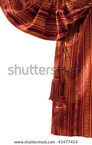 Red oriental curtain with red tassels. Isolated - stock photo